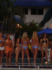 Beautiful Girls in a Bikini Contest at the Grand Prix Americas in Miami. Women in Skimpy Bikinis and Tiny Thongs showing their Asses to the Public.