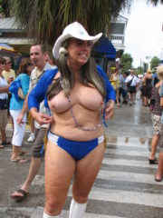Topless Girls at Fantasy Fest Showing off their Tits and Asses