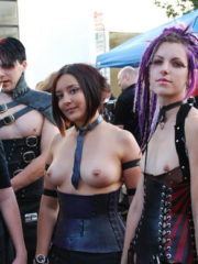 Folsom Street Fair in San Francisco. Girls and Guys in Naughty Costumes and Thongs, Topless with some Flashing Tits and Ass