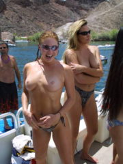 Sexy, Drunk Girls Flashing Their Tits and Asses on the Lake. Showing off Naked in Public. Boobs getting fondled and Nipples getting Sucked.