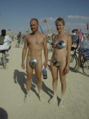 Girls and Guys dressed up in Costumes, Topless and Nude at Burning Man