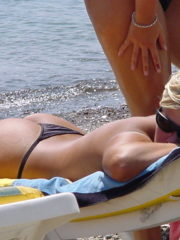 Sexy Girl on Topless Beach, Tits and Ass Showing.