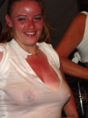 Wet T-Shirt Contest at the Cabbage Patch Bar. Girls in Thongs showing off their Tits and Ass